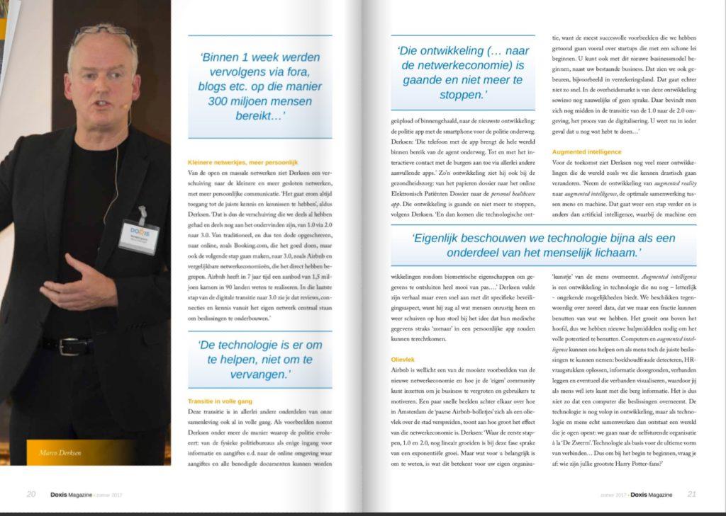 Marco Derksen over Digitale Transformatie in het Doxis Magazine