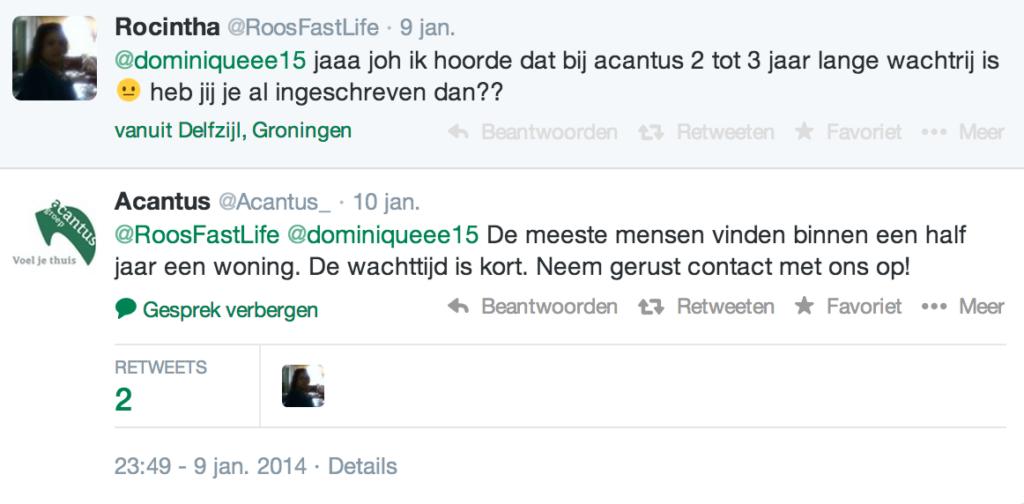 Woningcorporatie Acantus reageert op tweet wachttijd